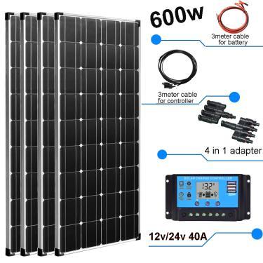 painel solar placa solar 12v 600w 300w carregador solar controlador 40a kit fotovoltaico para