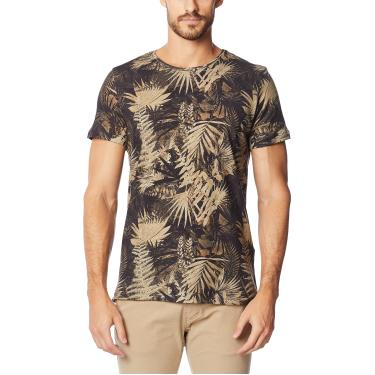 Imagem de Camiseta de Linho Estampada, Colcci, Masculino, Preto/Bege/Verde/Rosa/Cinza, P