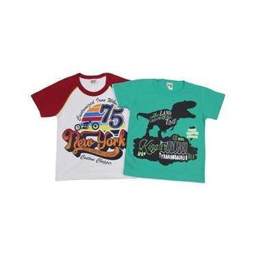 Camiseta Infantil Masculina Manga Curta Kit com 2 Unidades