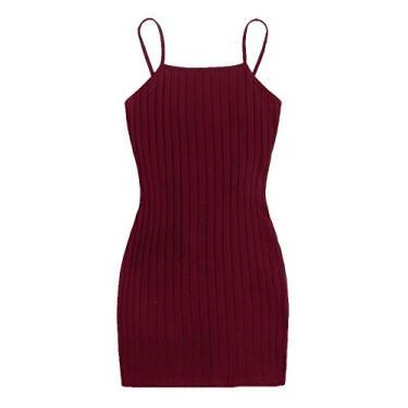 SheIn Vestido Cami feminino, básico, sem mangas, com tiras, colado ao corpo, de malha canelada, Burgundy, S