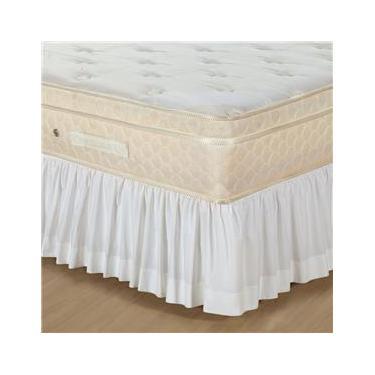 Imagem de Saia para Cama Box Solteiro Plumasul Percal Franzida 180 Fios - Branca