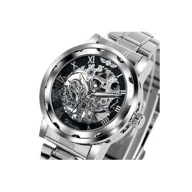 cdd7a43df7d Relógio Masculino Pulso Winner Esq Mov Mecânico Pulseira Aço