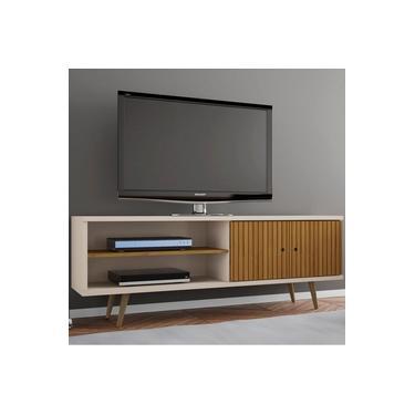 Rack para TV Até 60 Polegadas 2 Portas Onix Cinamomo/Off White/Ripado