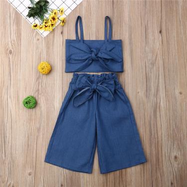 Conjunto de roupas infantis de verão, roupas para crianças, meninas de 1-6 anos, jeans, alça azul, 229282010