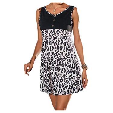 Vestido de festa feminino com estampa de leopardo verão com decote em V e cores vibrantes da Comaba, Branco, Medium