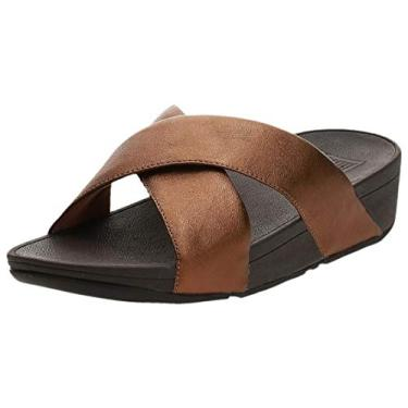 Sandália feminina FitFlop Lulu Cross Slide - Couro, Bronze, 10