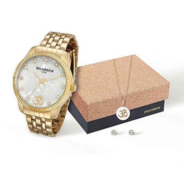 ae9d07979 Kit Relógio Mondaine Feminino Analógico Dourado 76579LPMKDE3K1 com Colar e  Brincos