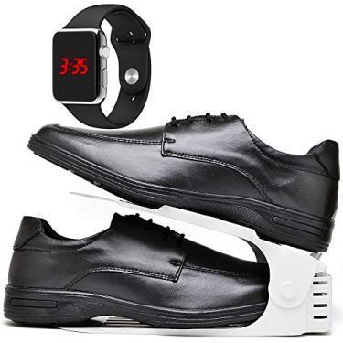 Kit Sapato Social Antistress Confort Com Organizador e Relógio LED Silver Masculino DUBUY 231DB Tamanho:37;cor:Preto;gên