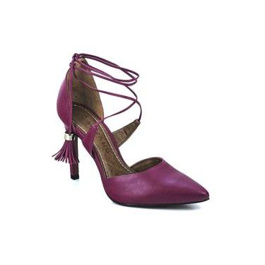 Sapato Scarpin Feminino Gladiadora Bico Fino Salto Alto Carrano Pink 131216