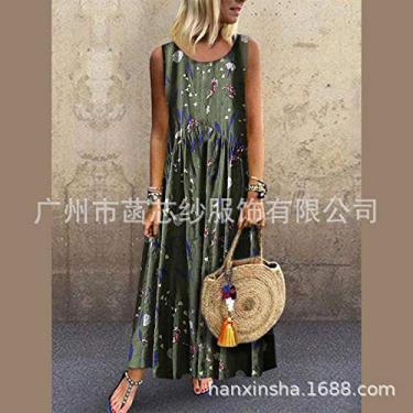 Vestido Popular,Baugger Popular fresco verão sem mangas em torno do pescoço impressão vestido longo para as mulheres verde XL