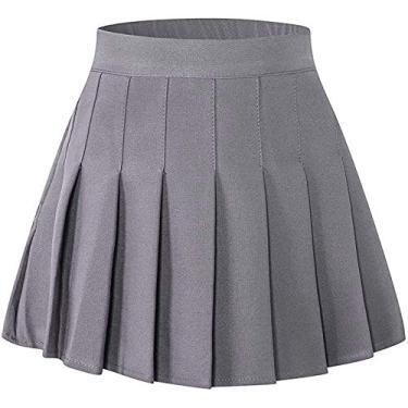 Saia plissada feminina SANGTREE com faixa elástica confortável, 2 anos – 2GG, Cinza, L