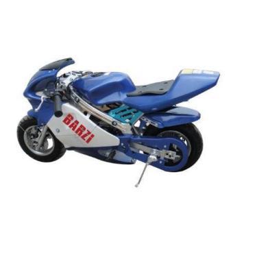 MINI MOTO BRINQUEDÃO RACING - PARTIDA - À GASOLINA - MOTOR 2 TEMPOS - AZUL