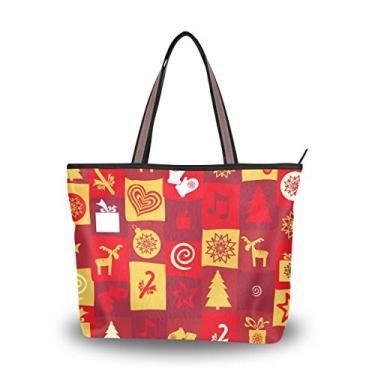 Bolsa feminina com alça superior colorida tema natalino bolsa de ombro, Multicolorido., Medium