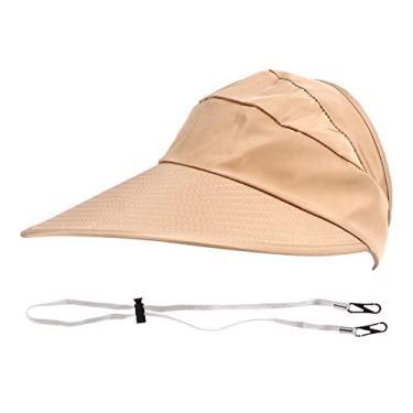 VALICLUD Pala de Sol Chapéus Grande Chapéu de Aba Praia Proteção UV Verão Ao Ar Livre Chapéu de Sol de Praia Viagem Cáqui