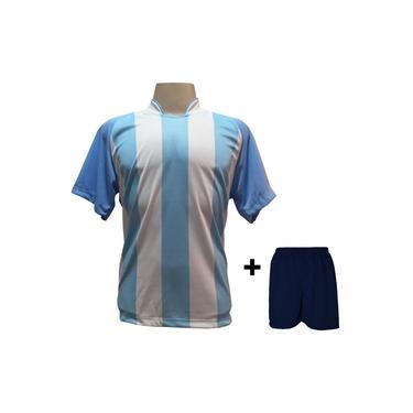 Imagem de Uniforme Esportivo com 18 camisas modelo Milan Celeste/Branco + 18 calções modelo Madrid Marinho +