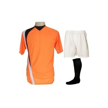 Imagem de Uniforme Esportivo Completo modelo PSG 14+1 (14 camisas Laranja/Preto/Branco + 14 calções Madrid Branco+ 14 pares de meiões Pretos + 1 conjunto de goleiro) +