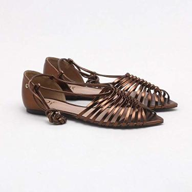 Sandália Strips Metalic Bronze 34