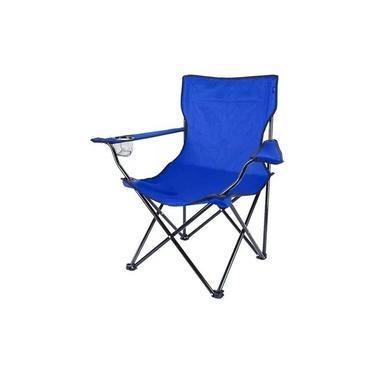 Cadeira Camping Dobrável Com Braço Azul