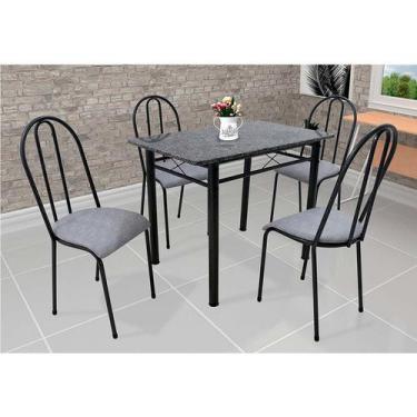 Imagem de Conjunto De Mesa Com 4 Cadeiras Genebra Couro Sintético Preto E Vegeta