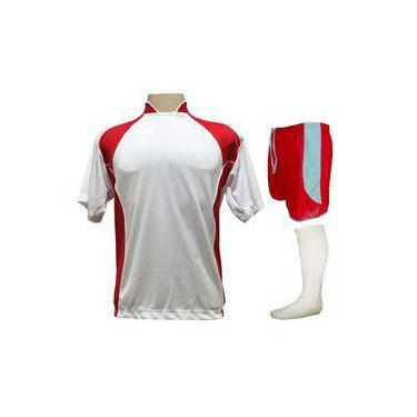 ce80360f7fa63 Uniforme Esportivo Completo Modelo Suécia 14+1 (14 Camisas Branco Vermelho  + 14