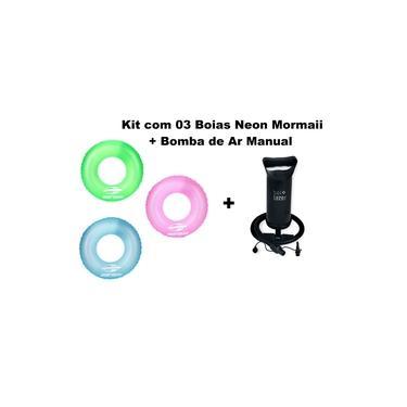 Kit 03 Boias infláveis neon Mormaii+ Bomba de Ar Manual Bel fix