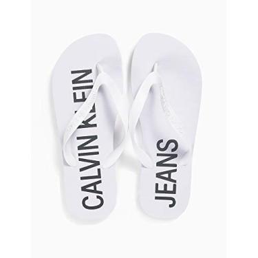 Chinelo Logo Deslocado, Calvin Klein, Masculino, Branco,37/38