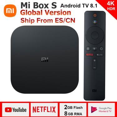 Xiaomi mi caixa de tv android 8.1 versão global 4k hdr quad-core bluetooth 4.2 smart tv box 2gb ddr3