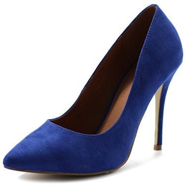 Ollio sapato feminino de camurça sintética bico fino salto alto multicolorido, Azul, 10