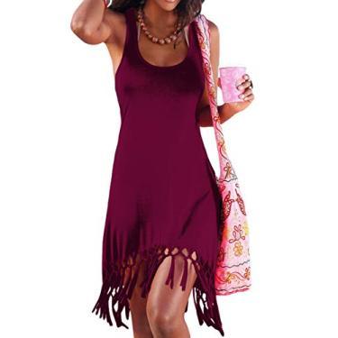 Vestido de praia sem mangas para o verão da Pinziko, saída de praia, regata, vestidos de férias, Violeta, X-Large