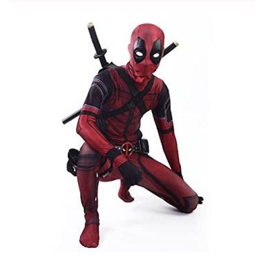 Imagem de Fantasia Zuunky Compatível com Fantasia Traje Completo Deadpool Cosplay Marvel Festa (Deadpool, XXG)