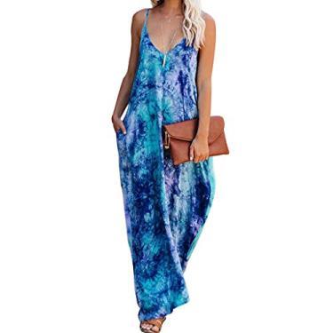 SAFTYBAY Vestido maxi feminino sem mangas com gola V, vestido longo estilo boho, estilo tie dye, solto, vestido longo casual para mulheres, Azul escuro, M