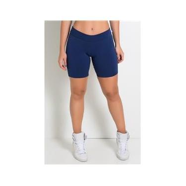 Bermuda Feminina Fitness em Suplex Azul Marinho
