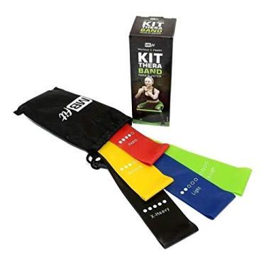 Kit 5 Faixas Elásticas Theraband Com 5 Níveis Fisioterapia