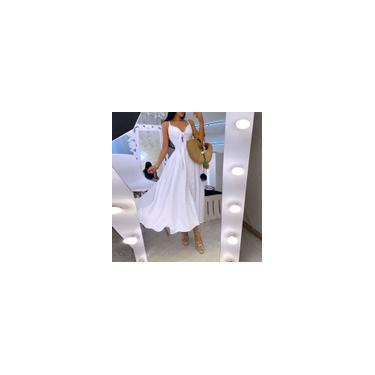 Imagem de S-5XL Feminino Moda Decote em V Cor Sólida Botão Up Plissado Longo Maxi Vestido Festa Vestidos Sem Mangas Slip Plus Size Branco S