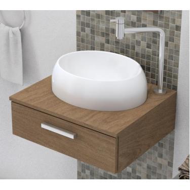 Cuba Pia De Apoio Para Banheiro OV10 40 Cm Marmorite Branco