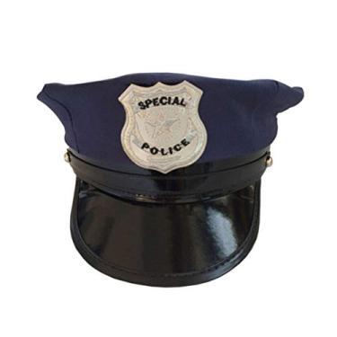Imagem de NUOBESTY – Chapéu de polícia para adultos com tema octogonal clássico da polícia para fantasia de cosplay e baile de máscaras (azul)