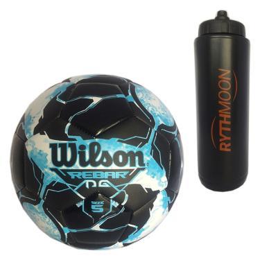Kit Bola Futebol No. 5 Rebar Wilson Azul Preto + Squeeze Automático 1lt 9ce1c2bae558a