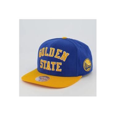 Boné Mitchell & Ness NBA Golden State Warriors Azul e Amarelo