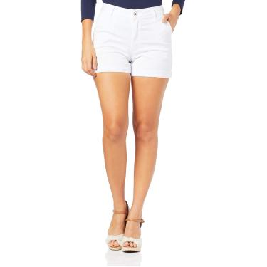 Shorts Alfaiataria cintura alta, Malwee, Femenino, Branco, 44