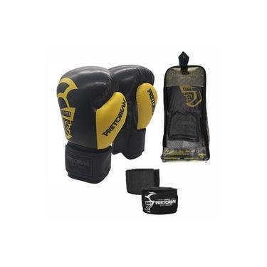 Kit Boxe Muay Thai Pretorian Black Line Luva 14 OZ Preta e Amarela + Bandagem 4,5 Metros