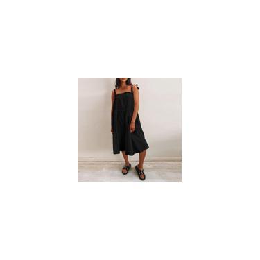 Imagem de Vestido de verão colete branco / amarelo / preto feminino alça de espaguete sem mangas cor sólida solto casual plissado vestido plus size Preto 4XL