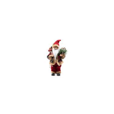 Imagem de Papai Noel Decoracao Natalina Boneco Enfeite de Natal Luxo 30 cm Xadrez Vinho Presentes