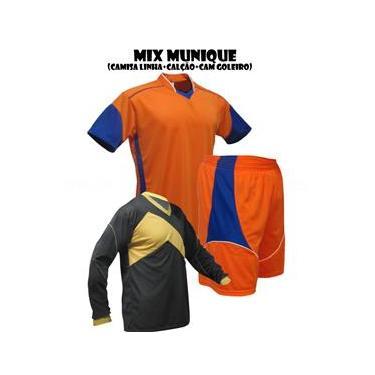 Uniforme Esportivo Munique 1 Camisa de Goleiro Omega + 10 Camisas Munique +10 Calções - Laranja x Royal x Branco