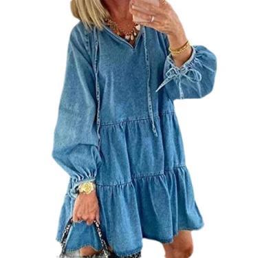 Abeaicoc Vestido feminino de outono casual manga longa gola V vestido midi jeans, Light Blue, Large