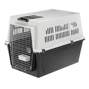 Ferplast ATLAS 70 PROFESSIONAL, Transportador para cães grandes, com comedouro e acessórios, sistema de fechamento de segurança, grades para ventilação, Cinza, GG