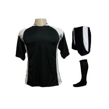 Uniforme Esportivo com 14 camisas modelo Suécia + 14 calções modelo Copa Preto/Branco + 14 pares de meiões Preto