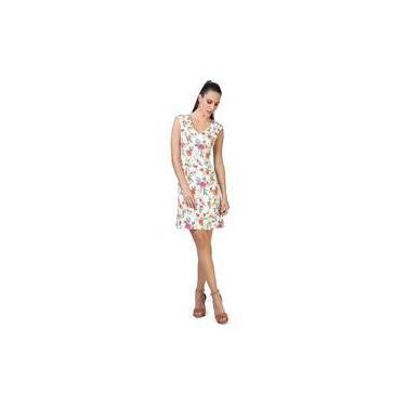 Vestido Feminino Social Tubinho Malha Crepe Estampa Floral Gola V Seiki 680779