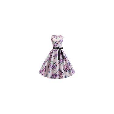 Vestido feminino casual com estampa floral fresca para festa à noite baile de formatura swing cinto arco Hepburn