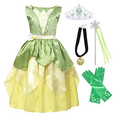 Imagem de Fantasia de princesa para meninas, vestido Tiana, festa de aniversário, Halloween, cosplay, roupa de fada verde (verde + acessórios, 5-6 anos)