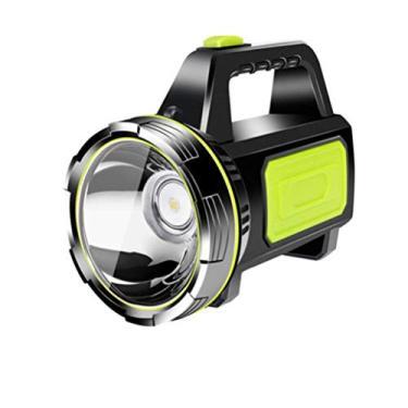 Imagem de Lanterna LED portátil de longo alcance holofote recarregável portátil de alta potência lanterna à prova d'água com amplificador lateral para acampamento ao ar livre 882B